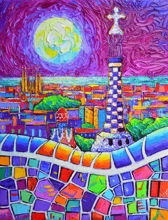 BARCELONA MAGENTA NIGHT PARK GUELL SUPER MOON abstract cityscape knife painting Ana Maria Edulescu by ANA MARIA EDULESCU