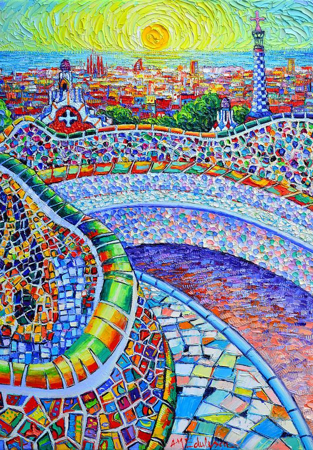 BARCELONA MAGICAL SUNRISE COLORS PARK GUELL textural impasto knife oil painting Ana Maria Edulescu by ANA MARIA EDULESCU