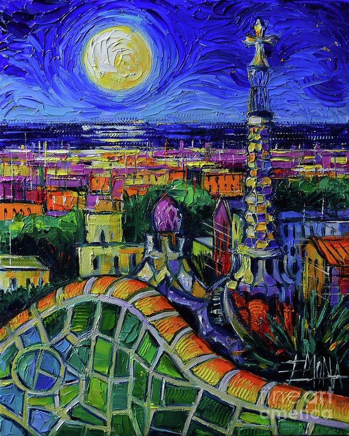 Barcelona Painting - Barcelona Nightscape Modern Impressionist Stylized Cityscape Oil Painting Mona Edulesco by Mona Edulesco