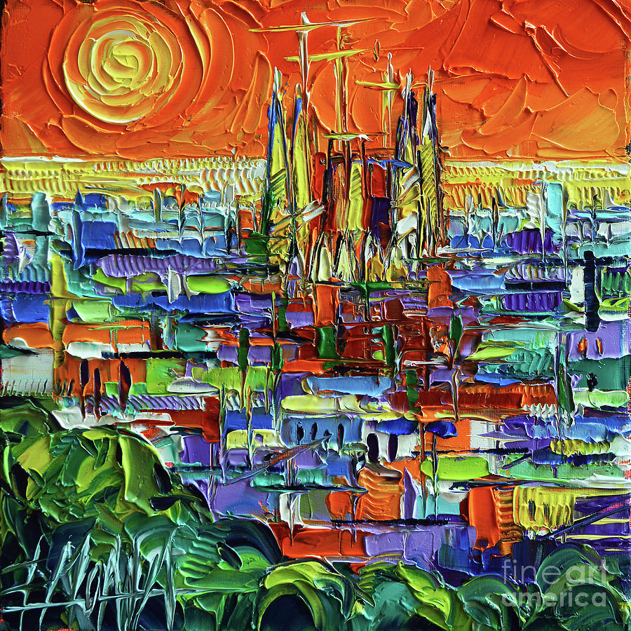 Park Painting - Barcelona Orange View - Sagrada Familia View From Park Guell - Abstract Palette Knife Oil Painting by Mona Edulesco