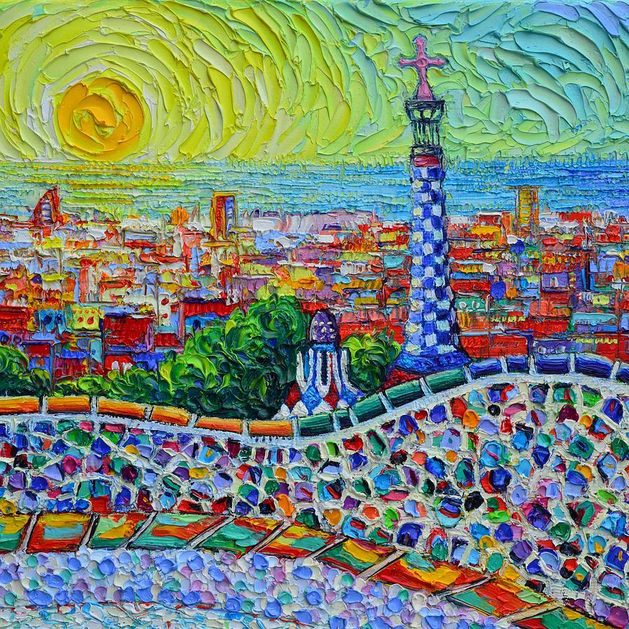 BARCELONA PARK GUELL SUNRISE 37 textural impressionist impasto knife oil painting Ana Maria Edulescu by ANA MARIA EDULESCU