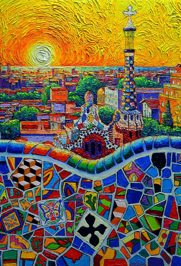 BARCELONA PARK GUELL YELLOW SUNRISE textural impasto cityscape knife oil painting Ana Maria Edulescu by ANA MARIA EDULESCU