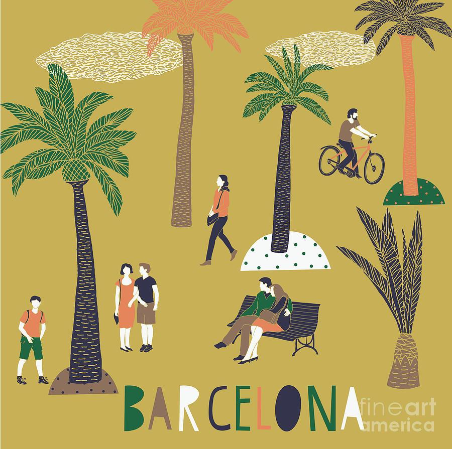 Spain Digital Art - Barcelona Print Design by Lavandaart