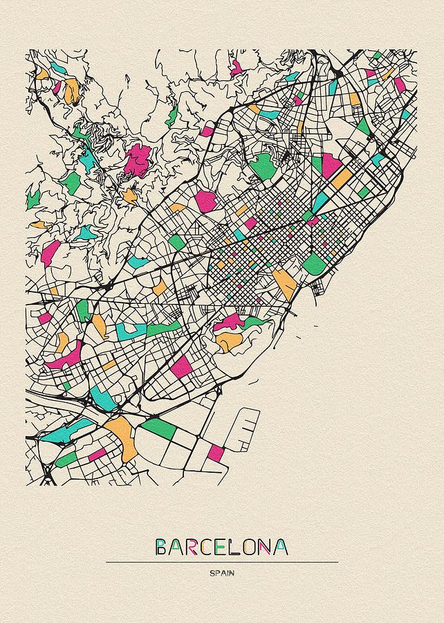 Barcelona Spain City Map Digital Art By Inspirowl Design