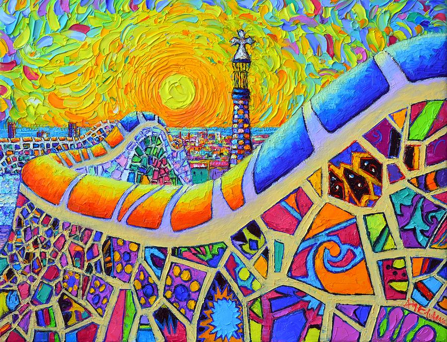 BARCELONA SUNRISE PARK GUELL textural impressionist impasto knife oil painting by Ana Maria Edulescu by ANA MARIA EDULESCU