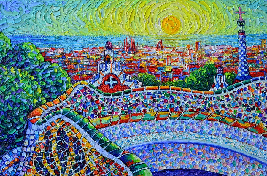 BARCELONA SUNRISE VIEW FROM PARK GUELL textural impressionist knife oil painting Ana Maria Edulescu by ANA MARIA EDULESCU