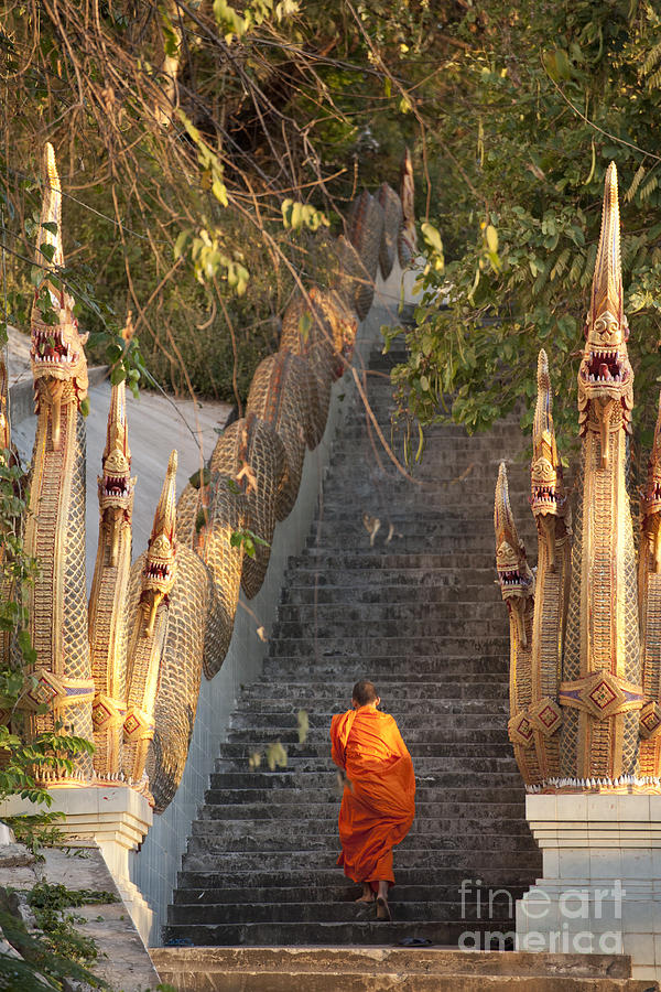 Religious Photograph - Barefooted Buddhist Monks In Chiang Mai by 10 Face