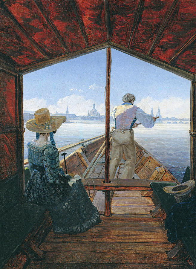 Carl Gustav Carus Painting - Barge Trip On The Elbe Near Dresden, Morning On The Elbe, 1827 by Carl Gustav Carus