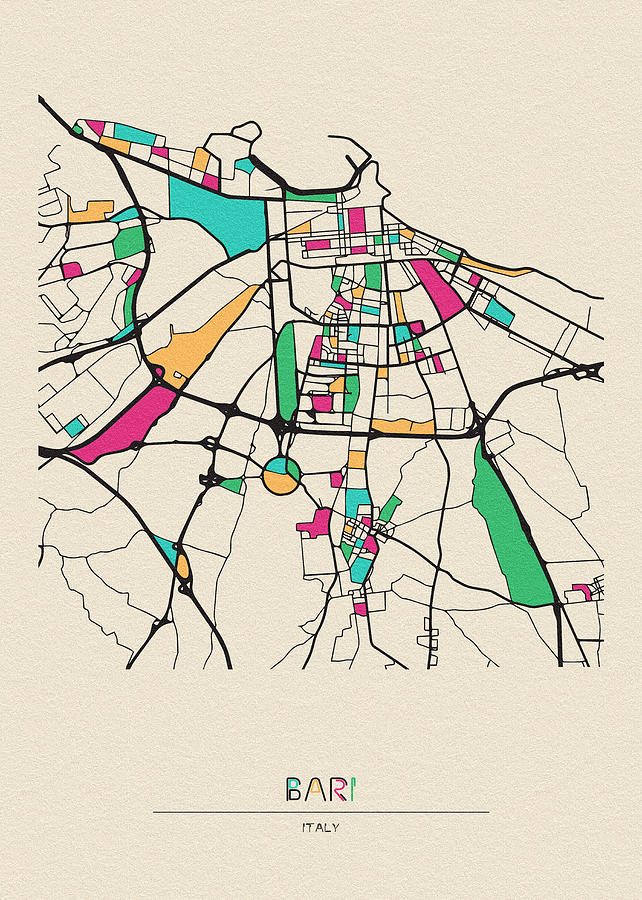 Bari, Italy City Map by Inspirowl Design