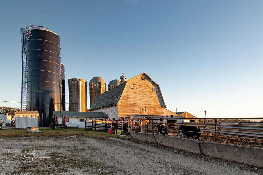 Barns Photograph - Barn And Silos by Jim Thompson