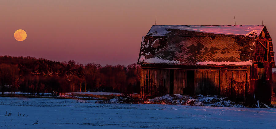 Barn at Sunset Blood Red Moonrise by Joe Holley