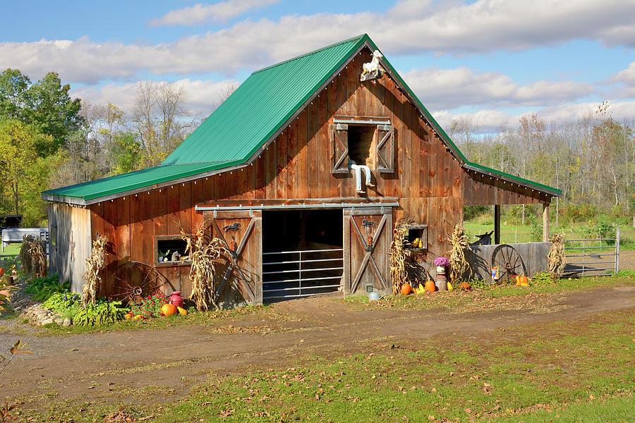 Farms Photograph - Barn In Autumn by Angie Tirado