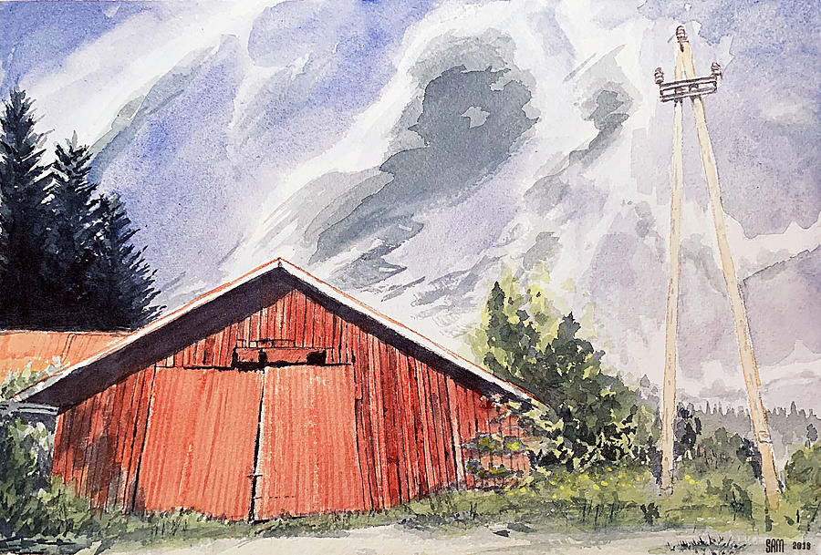 Barn Painting - Barn In Finland by Sami Matilainen