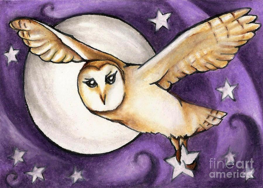 Barn Owl Moving The Stars by Kristin Aquariann