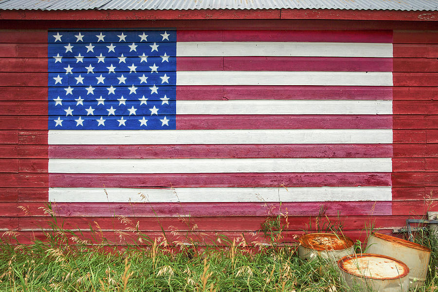 American Flag Photograph - Barn Side Flag by Todd Klassy