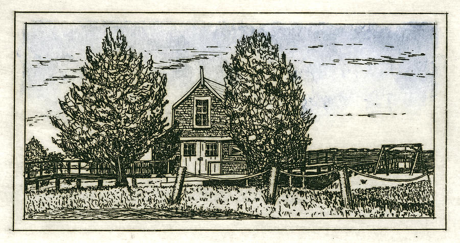 Barnstable Yacht Club Etching by Charles Harden