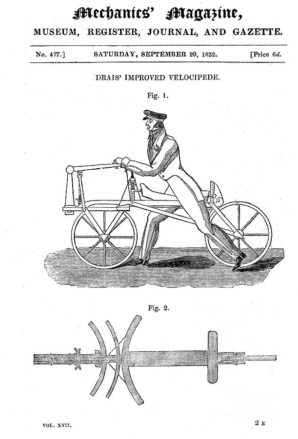 Baron Von Draiss Bicycle Draisienne Drawing by Print Collector