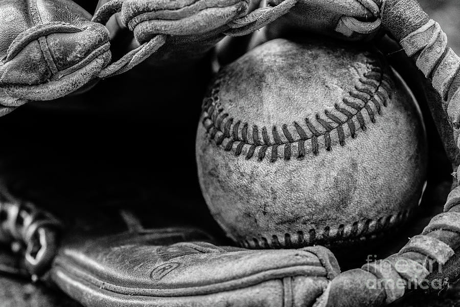 Baseball and Glove Black and White by Randy Steele