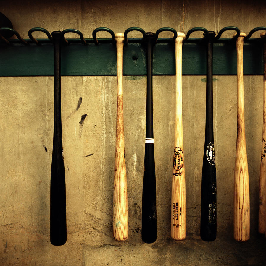 Baseball Bats Hanging On Rack Photograph by Michael Kelley