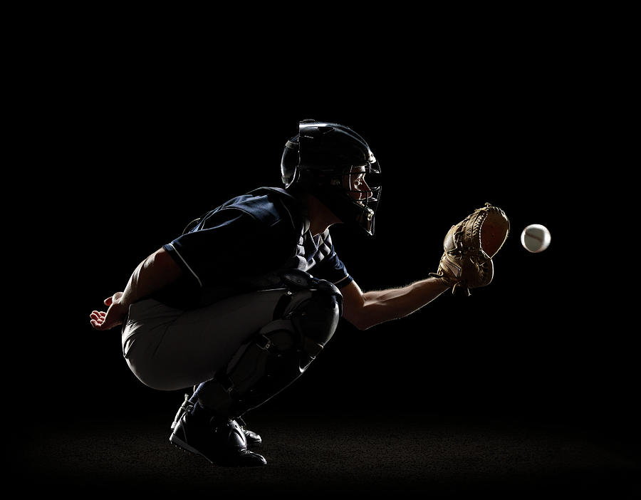 Baseball Catcher Catching Ball In Mitt Photograph by Lewis Mulatero