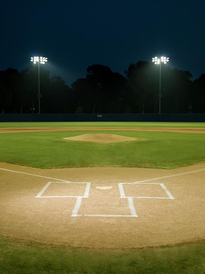 Baseball Field At Night Photograph by Whit Preston