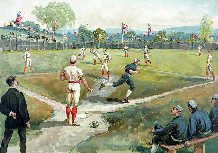 Baseball Game In 1891 New York Photograph by Graphicaartis