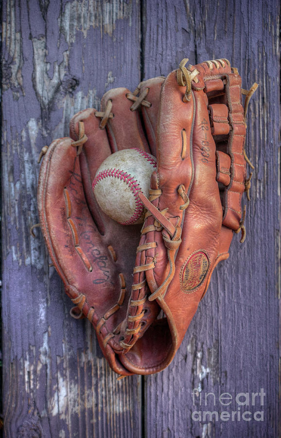 Baseball Glove and Ball on Wood by Randy Steele
