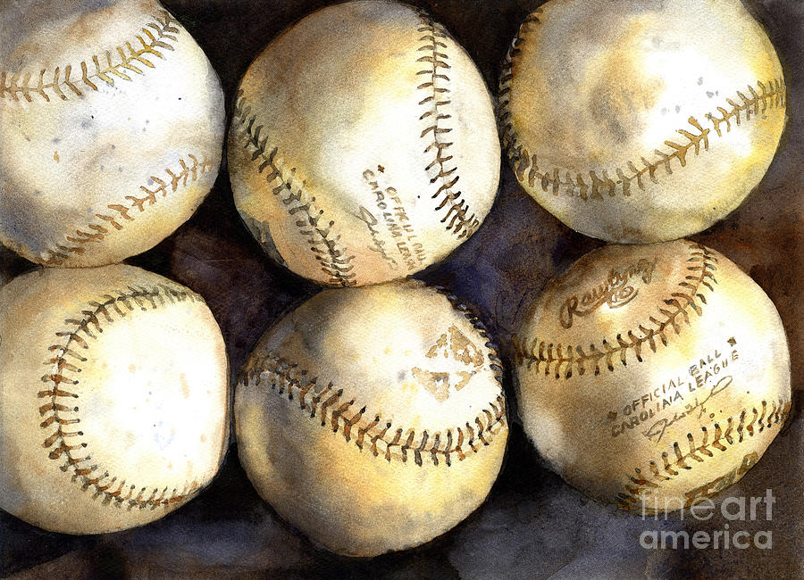 Baseball painting.  Watercolor painting of baseballs, home decor by Ryan Fox