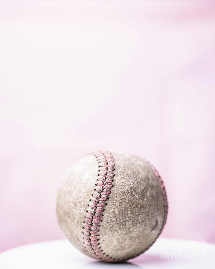 Baseball Photograph - Baseball Pink Background by Edward Fielding