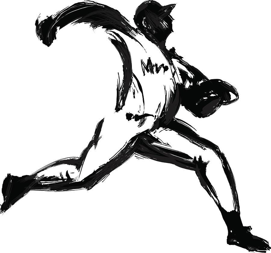 Baseball Player, Pen And Ink Digital Art by Daj