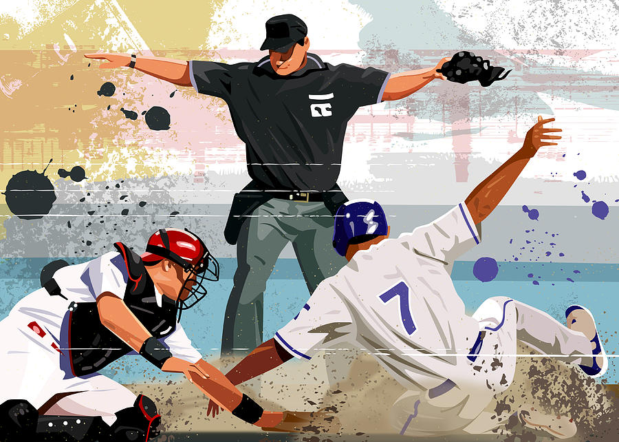 Baseball Player Safe At Home Plate Digital Art by Greg Paprocki