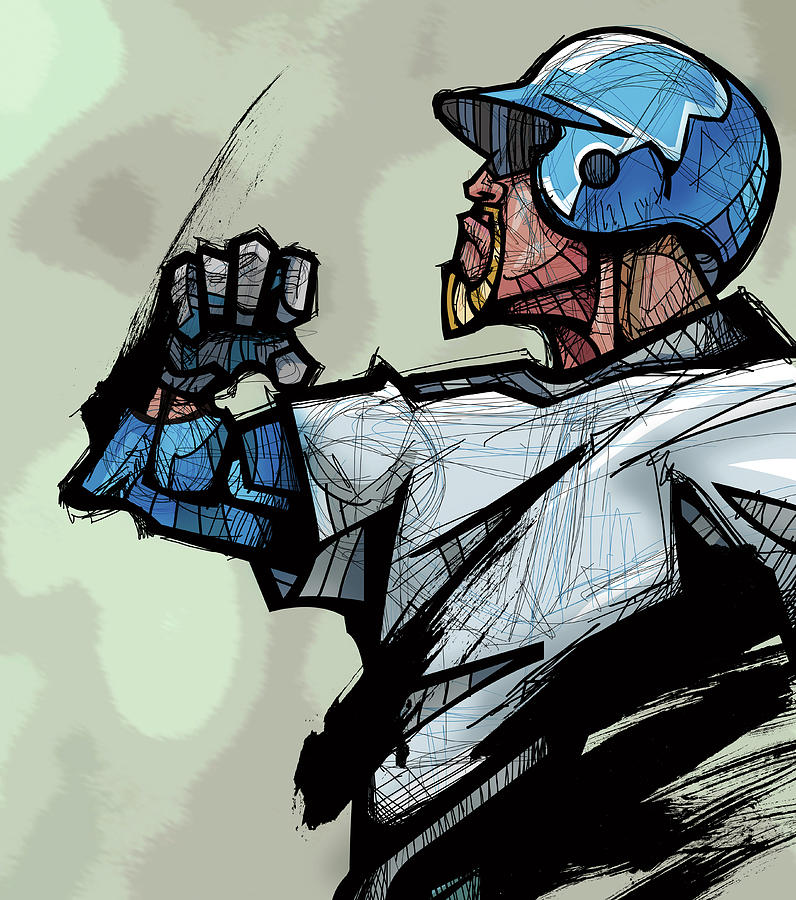 Baseball Player Wearing Helmet, Side Digital Art by Eastnine Inc.