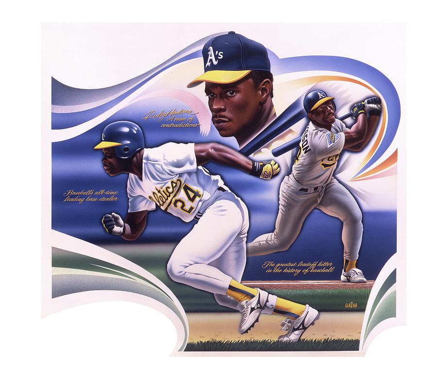 Baseball Painting - Baseball Ricky Henderson  by Garth Glazier