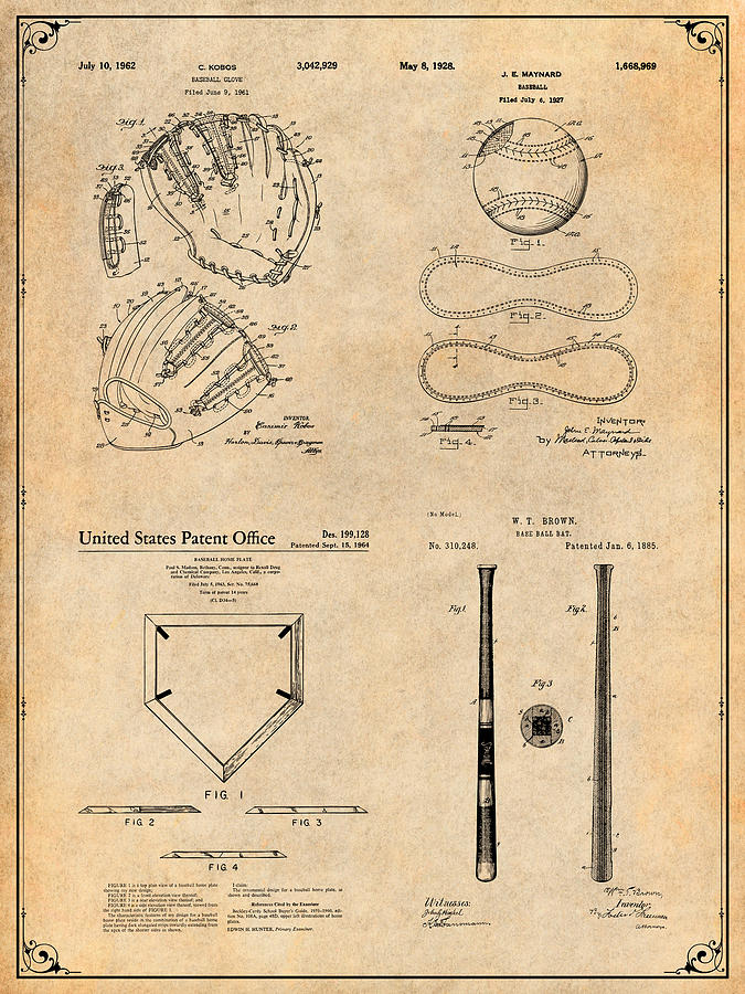 Vintage Baseball Glove Patent Shirt Batting Glove Baseball Player Gift