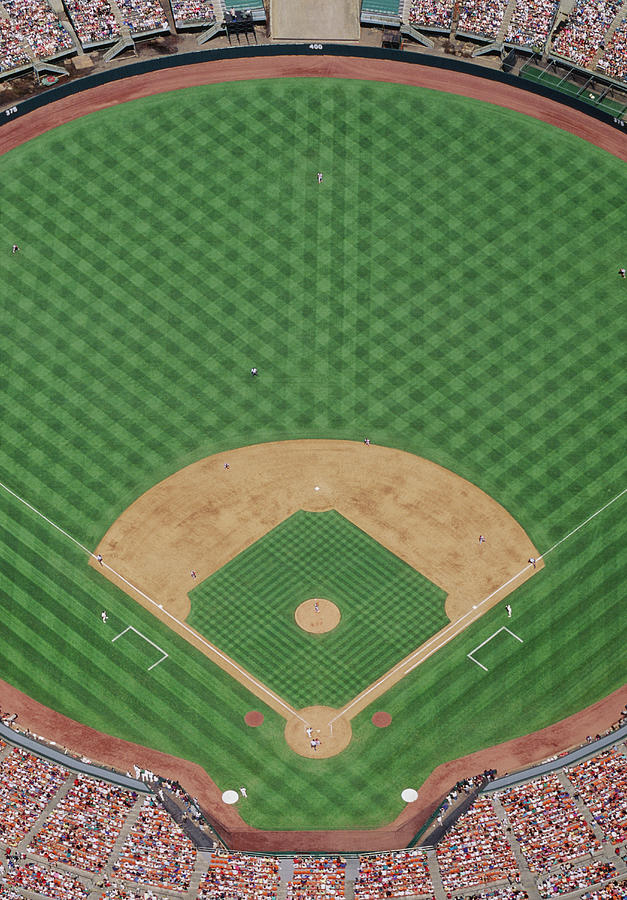 Baseball Stadium During Game, Aerial Photograph by David Madison