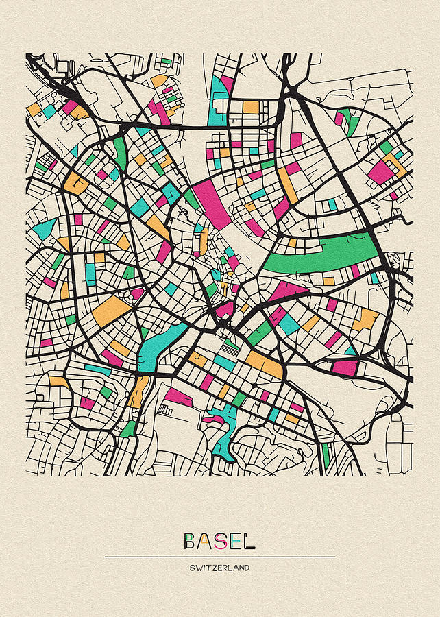 Basel, Switzerland City Map by Inspirowl Design