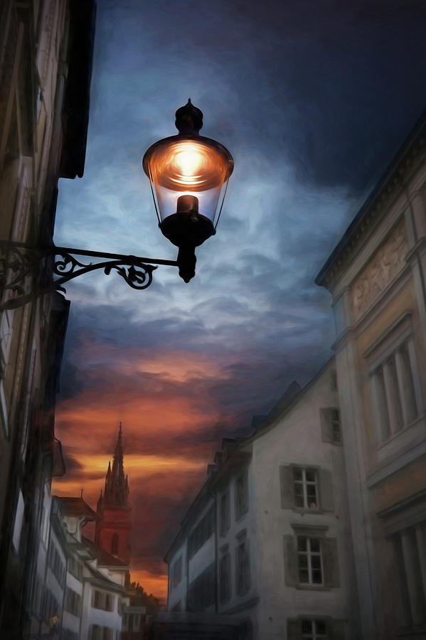 Basel Switzerland Historic Old Town at Dusk by Carol Japp