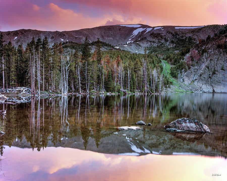 Altitude Photograph - Basin Lake Sunset by Leland D Howard