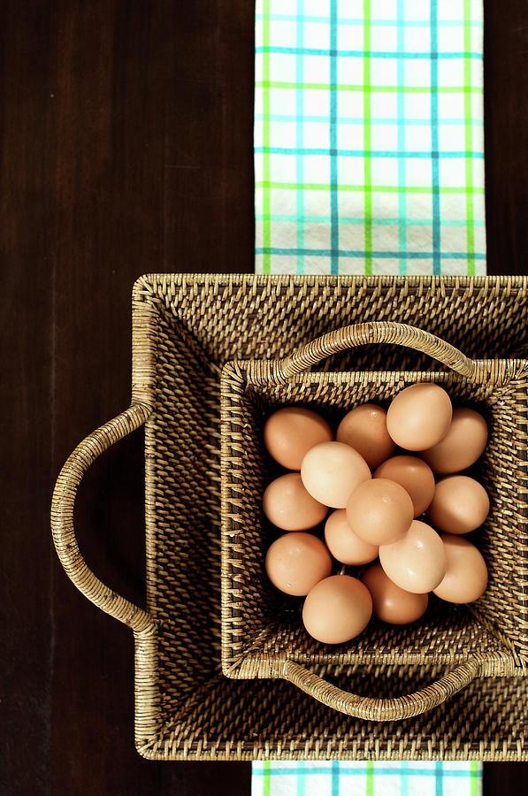 Basket Of Brown Eggs Photograph by Joey Celis