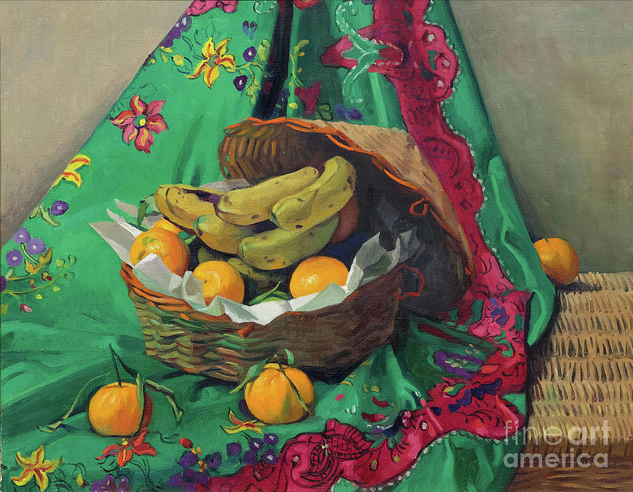 Basket Of Tangerines And Bananas Drawing by Heritage Images