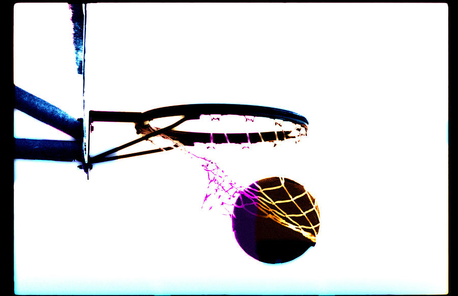 Scoring Photograph - Basketball Going Through Net, Close-up by Cyberimage