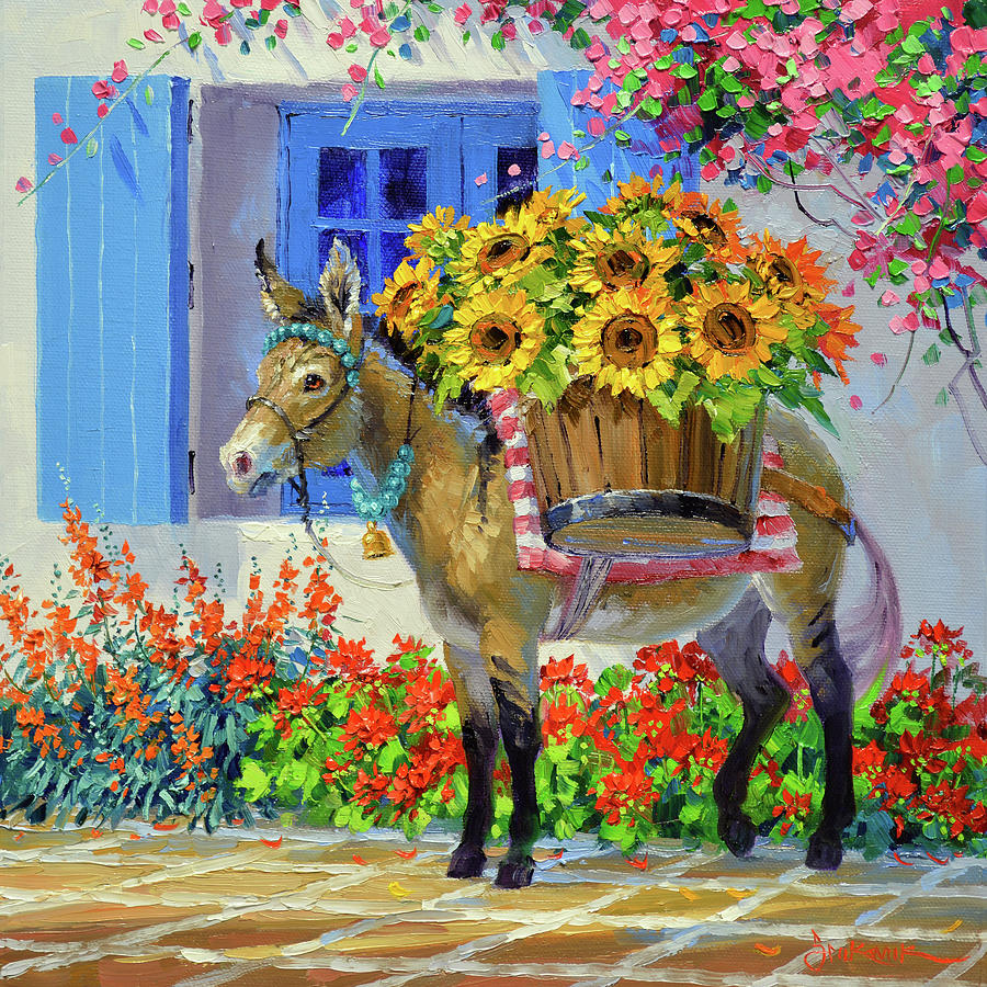 Burro Painting - Baskets Full of Sunshine by Mikki Senkarik