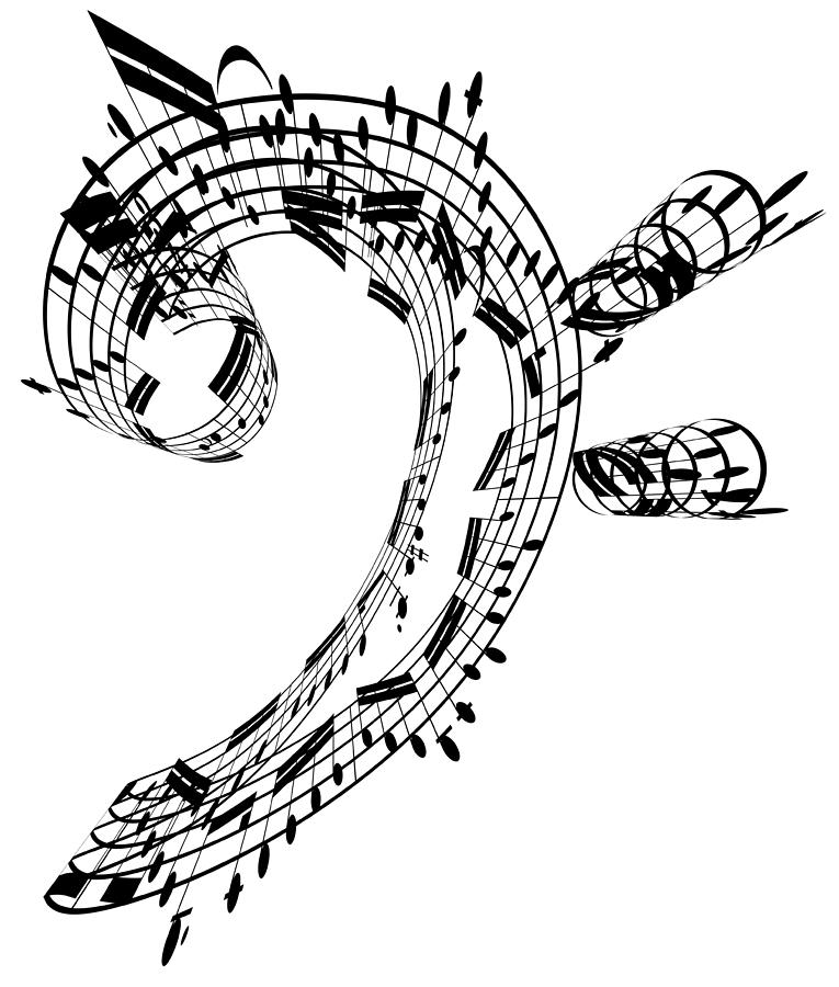 Bass Clef Made Of Music Notes Digital Art by Ian Mckinnell