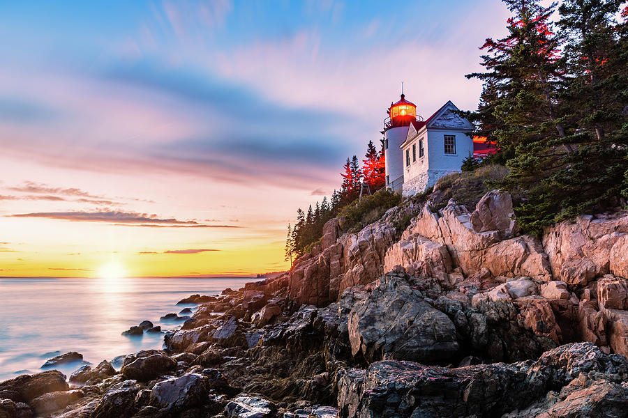 Bass Harbor Head lighthouse at sunset, in Maine by Mihai Andritoiu