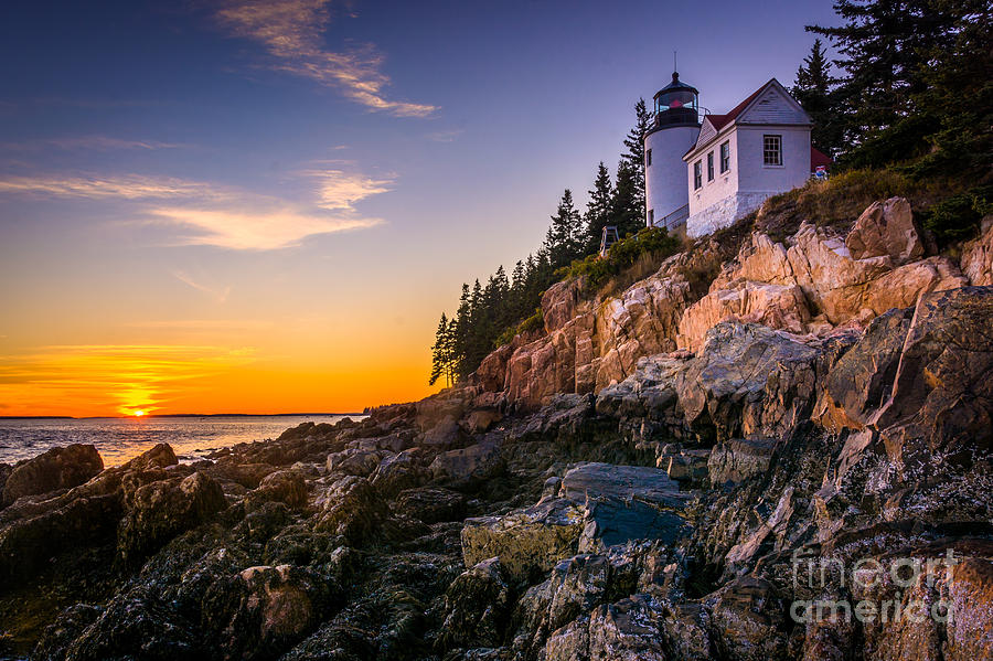 Cliffs Photograph - Bass Harbor Lighthouse At Sunset, In by Jon Bilous