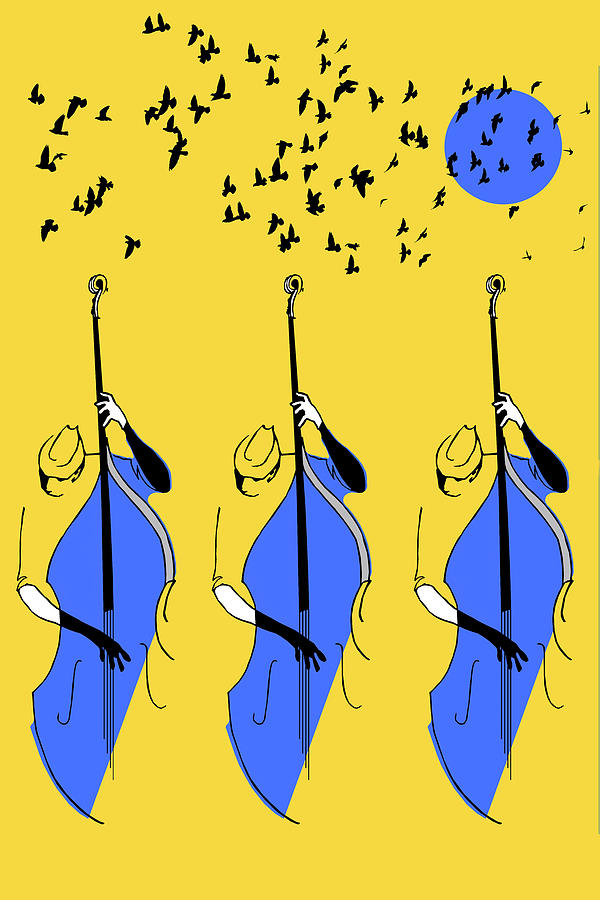 Yellow And Blue Digital Art - Bass Trio by Regina Wyatt