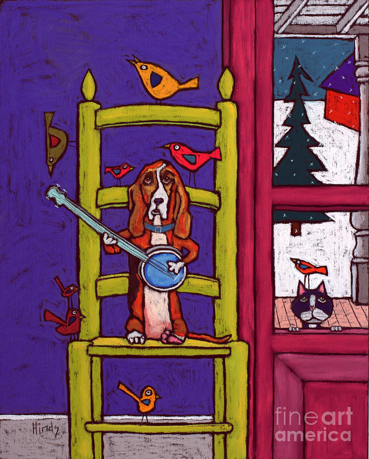 Basset Hound Playing Banjo For The Birds by David Hinds
