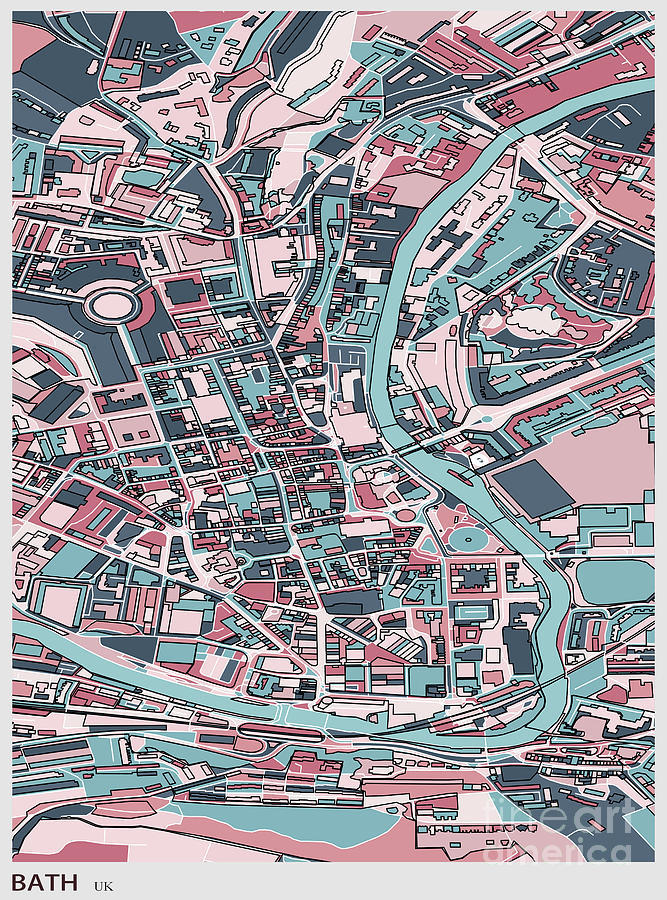 Bath City Of England Art Map Digital Art by Shuoshu
