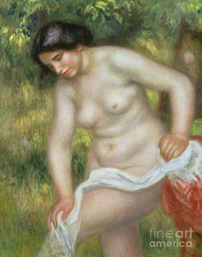 Bather Drying Herself with a White Cloth by Pierre Auguste Renoir