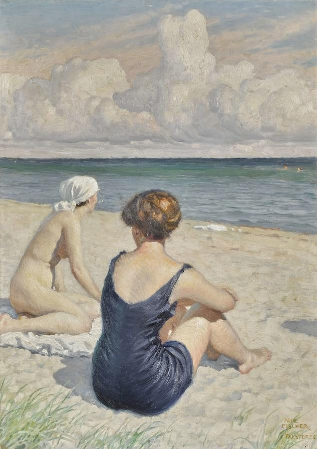 BathersOn The Beach  Falsterbo  by Paul Fischer
